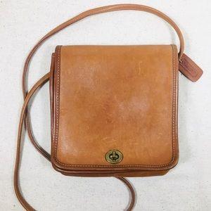 Coach British Tan Crossbody Compact Pouch Bag USA